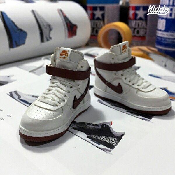 """Nike """"Air Force1 High""""  by Kiddo #minishoes#mimiatureshoes #bjdshoes #dollshoes #miniaturenike #onesixthscale"""