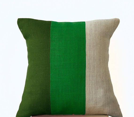 Chic Green Burlap Pillow -Throw Pillows color block- Decorative green cushion cover- Burlap Throw pillows -14x14  -Forest moss green pillows