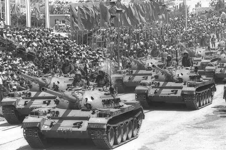 Israeli Independence Day Parade  with a column of Tiran 4 (T-54) tanks rearmed with 105mm guns.