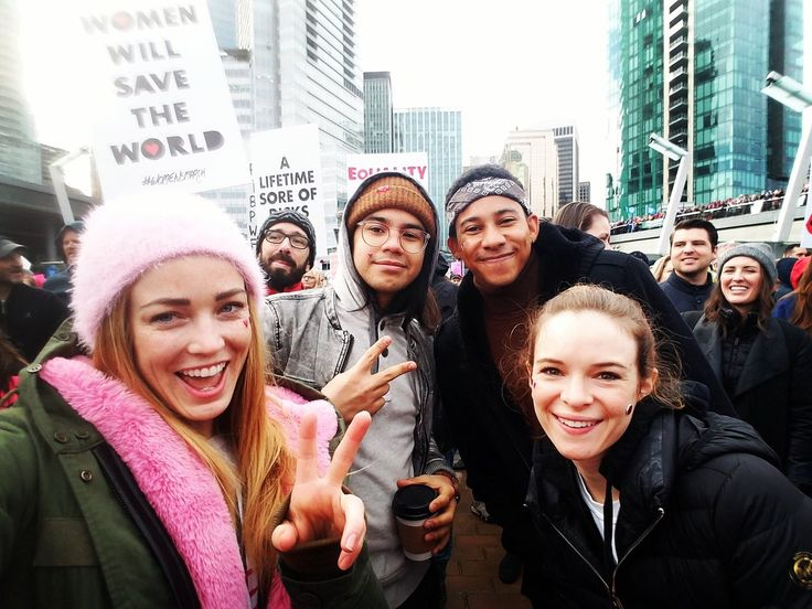 """""""Fuck ya #WomensMarch"""" """"Caity Lotz was at the Vancouver march with Danielle Panabaker, Keiynan Lonsdale (Wally West), and Carlos Valdes. Yeah I already loved her a lot, but that was pretty delightful too."""""""