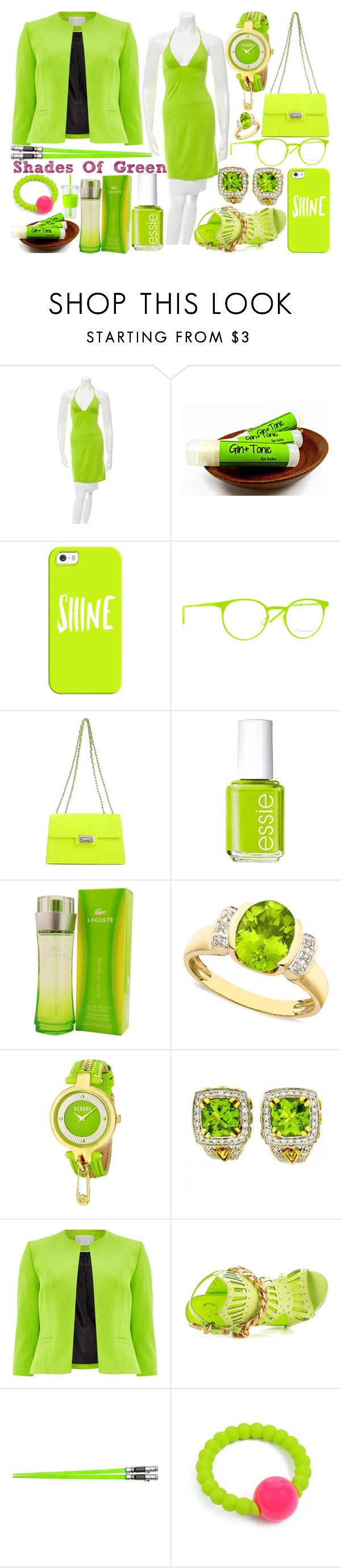 """""""Shades Of Green #5"""" by quinn-avina ❤ liked on Polyvore featuring Christian Lacroix, Casetify, Italia Independent, Moschino, Essie, Lacoste, Versus, Charles Krypell, Windsmoor and Privileged"""