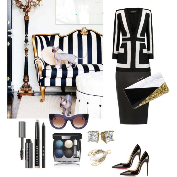 luxury set! как вам такой сет? by temirbek-a on Polyvore featuring polyvore fashion style Balmain Dorothy Perkins Christian Louboutin Edie Parker Alexis Bittar Thierry Lasry Chanel Bobbi Brown Cosmetics