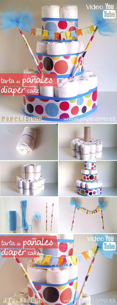 Tarta de Pañales Fiesta | http://papelisimo.es/manualidades-faciles-tarta-panales-torta-bebe-diy-nappy-diaper-cake-babyshower/