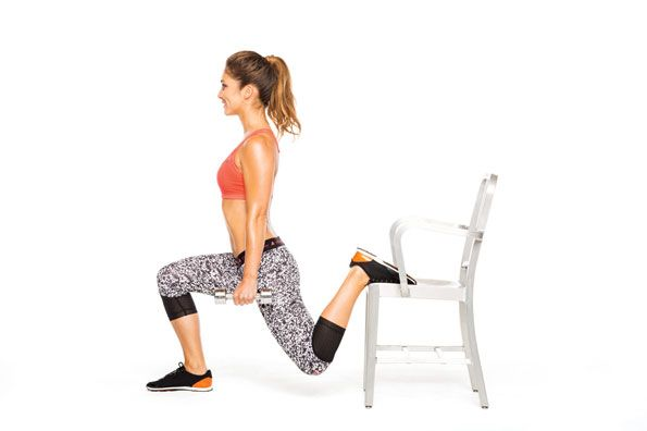 Want to wear a tight dress spanx-free? Do the Bulgarian split squat to lift and round your rear. Stand with back to chair or bench, a weight in each hand. Step right leg forward; place top of left foot on chair. Bend knees and lower body until back knee hovers above floor (as shown). Straighten legs for one rep. Do 20 reps. Switch sides; repeat. Do two sets per side on alternate days. #SelfMagazine