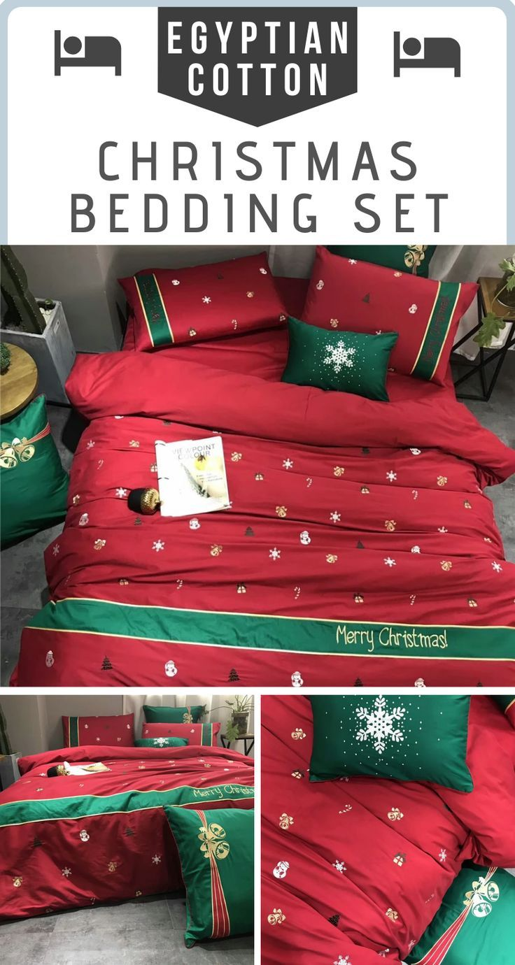 Christmas 2020 Bedding Egyptian Cotton Luxury Christmas Bedding Set in Red in 2020
