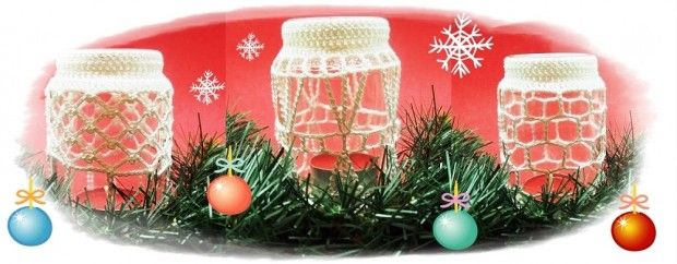 Horgolt mécsestartók karácsonyra