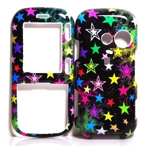 BLACK WITH PURPLE BLUE PINK MULTI COLOR STAR SNAP ON HARD SKIN SHELL PROTECTOR COVER CASE FOR LG RUMOR 2 LX265 / LG COSMOS VN250 + BELT CLIP (Wireless Phone Accessory)