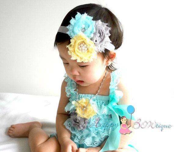 baby lace romper 3pcs Light Aqua Lace Petti by HappyBOWtique, $49.95 ( these colors are so pretty together...)