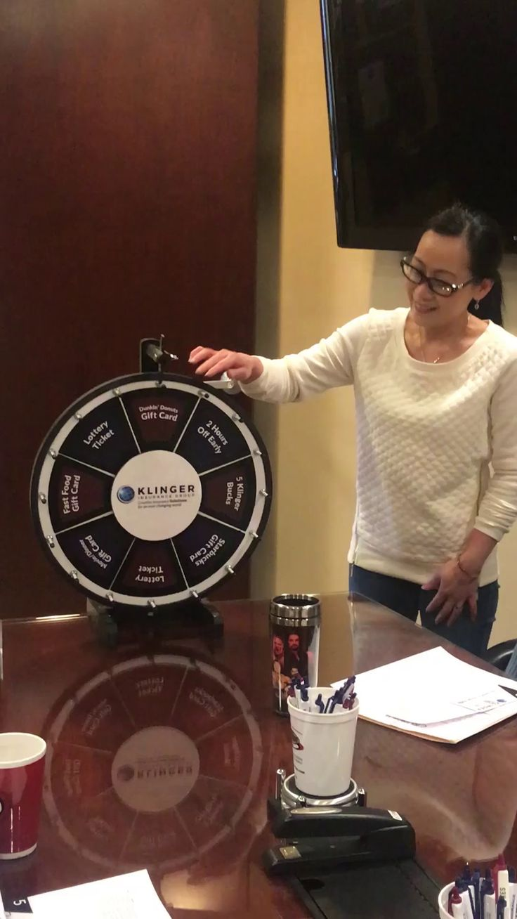 """We enjoy rewarding our staff for their amazing customer service in fun, unique ways. Our """"Wheel of Klinger"""" provides staff with the opportunity to win prizes whenever they receive a positive testimonial on Klinger Insurance Group's Facebook, Google, or Yelp page. Annie and Jane each took a spin this week for earning excellent testimonials!  If you believe that your dedicated account manager has done an excellent job, please write a review based on your positive experience with them."""