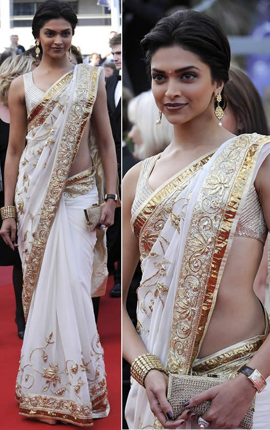 Indian Actor Deepika Padukone in Rohit Bal's http://www.rohitbal.com/ Saree at Cannes Film Festival's Red Carpet, 2010
