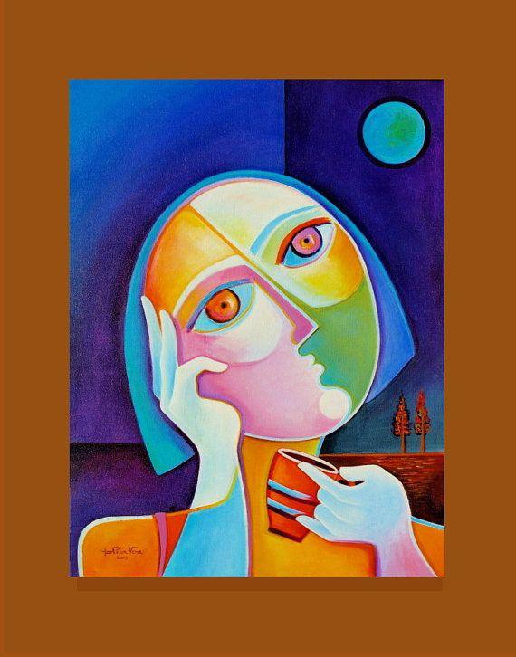 Original Modern Abstract Art Acrylic Painting On Canvas Coffee At Dawn Marlina Vera Fine Gallery