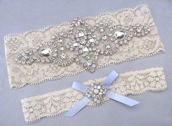 Something Blue Wedding Garters Ivory White Lace Keepsake Toss Bridal Garter Set