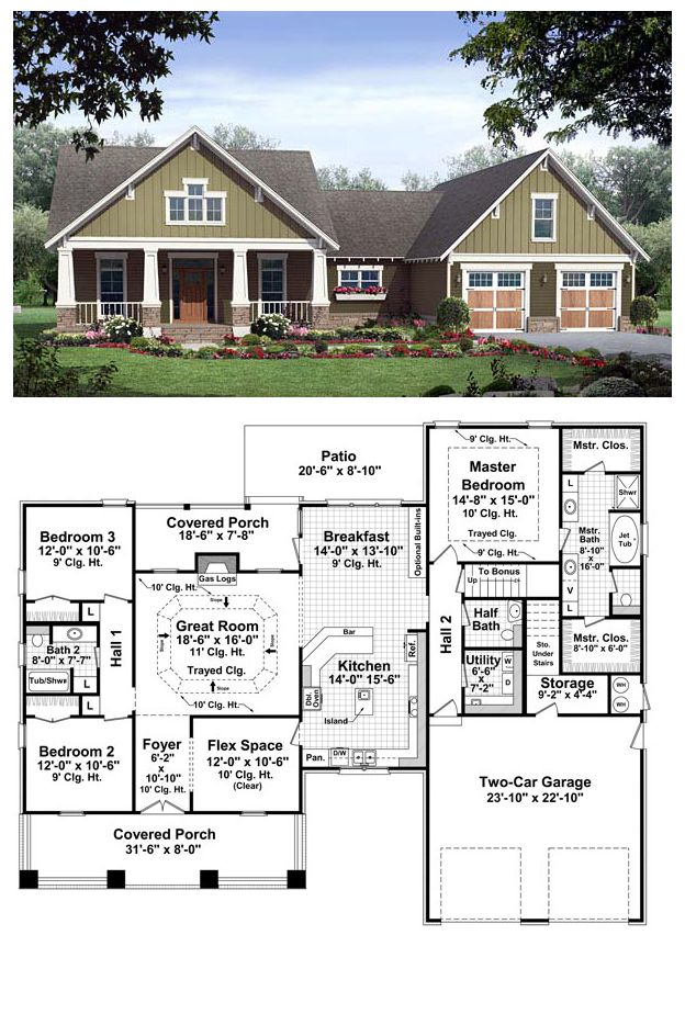 COOL House Plan ID: chp-37255 | Total living area: 2067 sq ft. This beautiful Craftsman design features all the things that make a house a home. Three over-sized bedrooms are complemented by large closets, and the flex space provides a perfect spot for that home office, playroom or dining room. #craftsman #houseplan