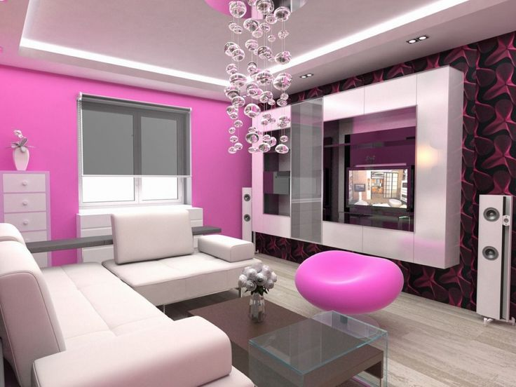 Modern Apartment Living Room Furniture Design with Pink Color