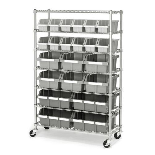 Features:  -22 Durable sliding and locking polypropylene.  -Includes 16 medium, 6 large and 4 X-Large  bin labels.  -Patented design.  -Bin rack storage system.  -7-Tiers with 22 PP bins.  -NSF Certif