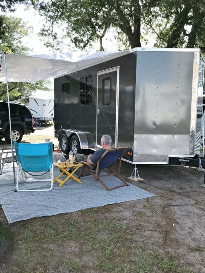 They Turned This Cargo Trailer Into A Cozy Stealthy And Beautiful Camper In 2020 Cargo Trailer Camper Cargo Trailer Conversion Cargo Trailer Camper Conversion
