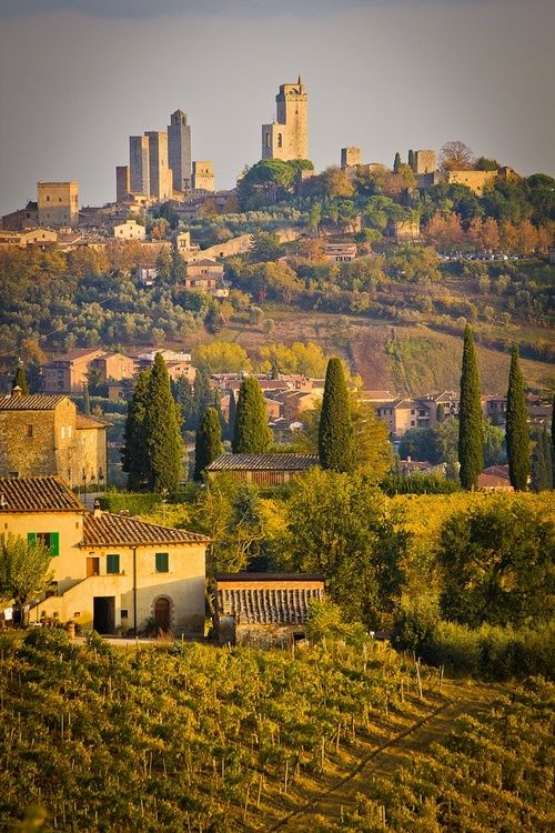 The towers of San Gimignano, Tuscany, Italy, 2012 holiday hiking trip with mum and dad