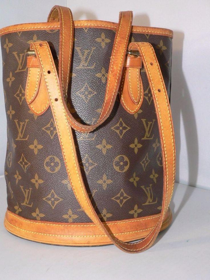 Authentic Louis Vuitton Monogram Bucket PM Shoulder Tote Bag Purse Set #LouisVuitton #TotesShoppers