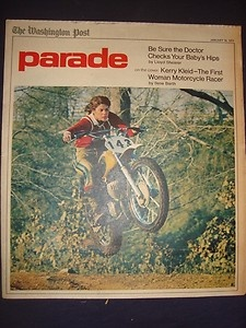 "Kerry Kleid got the cover of ""Parade magazine"" January 16 1972, with an article called ""Girl on a Hot Seat""Vintage Women, Women Motorbikes, Call Girls, Hot Seats, Parade Magazines, Motorcycles Rider, Motorbikes Rider, Kerry Kleid, Articles Call"