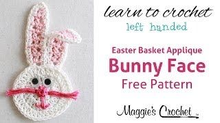 Beginner Left Handed Crochet Patterns : Easter Bunny Face Applique Free Crochet Pattern - Left ...