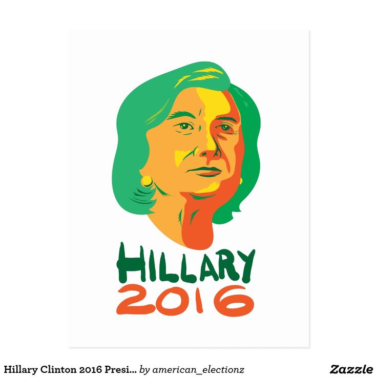"""Hillary Clinton 2016 President Postcard. 2016 American elections retro postcard with an illustration showing head of Democrat presidential candidate Hillary Clinton looking up with the words """"Hillary 2016."""" #Hillary2016 #democrat #americanelections #elections #vote2016 #election2016"""