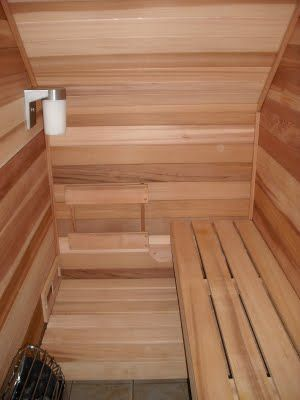 Under stairs: sauna