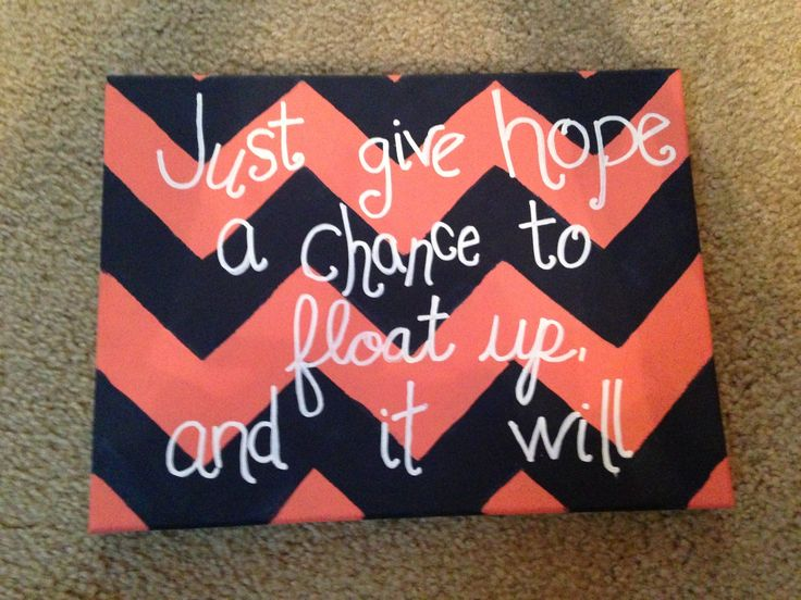 Just give hope a chance to float up and it will. Navy and coral chevron quote canvas