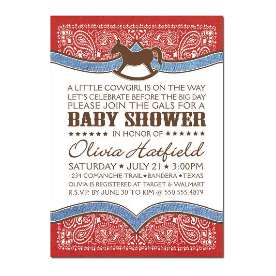 Cowboy / Cowgirl Bandana Baby Shower PRINTABLE PDF ONLY on Etsy, $15.00