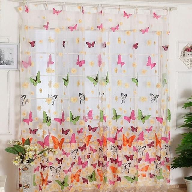 White /& Purple Butterfly Floral Polyester Gauze Voile Fabric