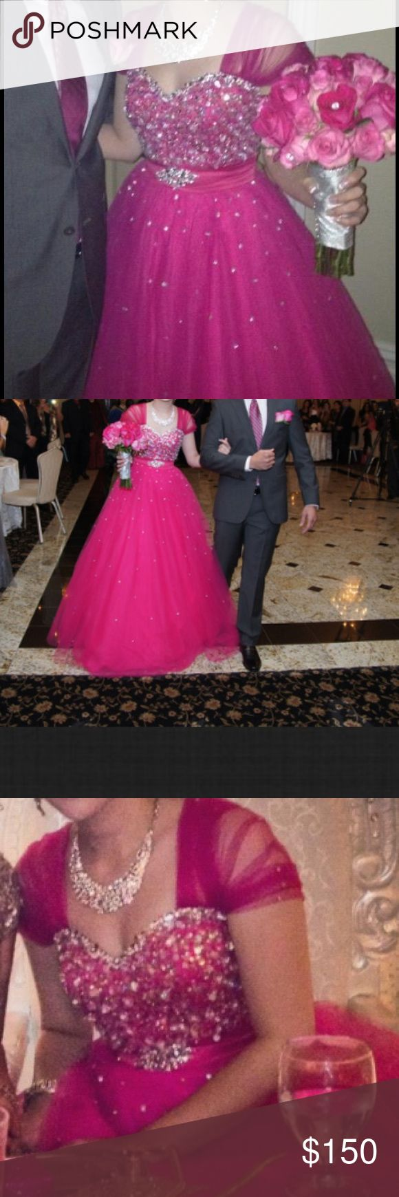 Beautiful pink ball gown!! Beautiful pink ballgown with tool material and beading on the upper part of dress! Dresses Prom