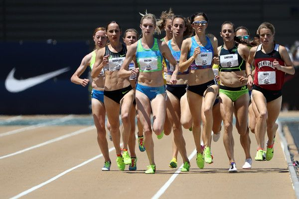 Kate Grace leads the field in the Women's 1500m Final during Day 3 of the 2017 USA Track & Field Outdoor Championships at Hornet Stadium on June 24, 2017 in Sacramento, California.