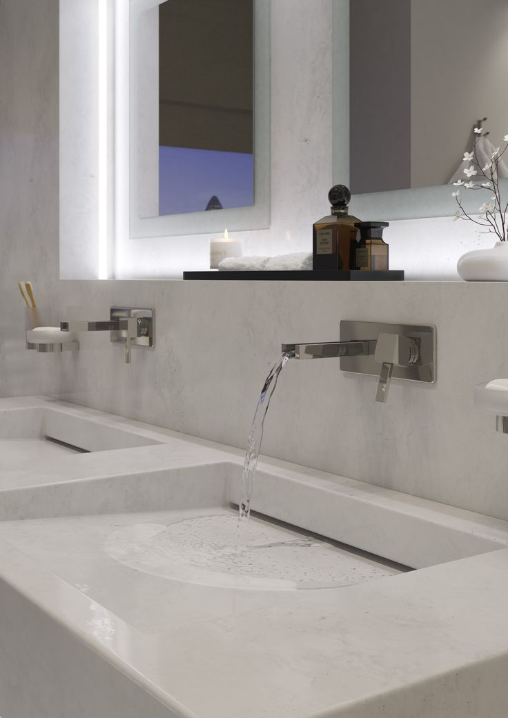 Té Falls 2 Hole wall mounted basin mixer by VADO  --  Infinity Frosted glass soap dish and holder by VADO