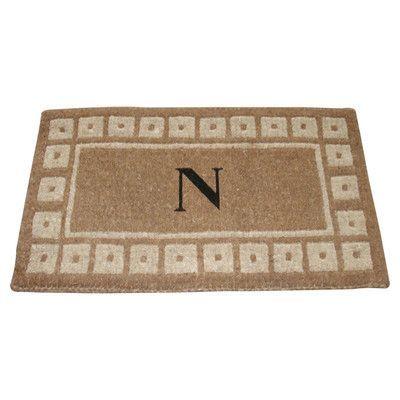 "Geo Crafts Monogram Doormat Size: 18"" x 30"", Letter: T"