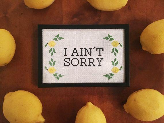 Beyonce Lemonade I Ain't Sorry Cross Stitch by EleventhHouseWares