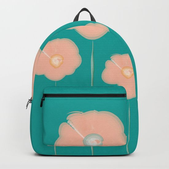 "Our Backpacks are crafted with spun poly fabric for durability and high print quality. Thoughtful details include double zipper enclosures, padded nylon back and bottom, interior laptop pocket (fits up to 15""), adjustable shoulder straps and front pocket for accessories. Dry clean or spot clean only. One unisex size: 17.75""(H) x 12.25""(W) x 5.75""(D). Back to school backpack #society6 #backpack #loveschool #backtoschool #school #flowers #floral #watercolors #watercolorflowers  #pink…"