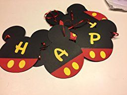 Amazon.com: Mickey Mouse Birthday Banner | Mickey mouse Birthday Decorations | Happy Birthday Banner | Mickey mouse birthday | Mickey Mouse Party Supplies | Disney 1st birthday | Card Stock Banner #CARD_BAN_2: Toys & Games
