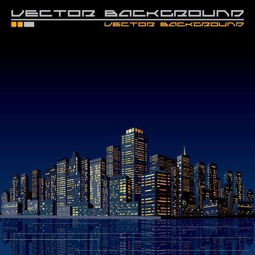 Beautiful night city vector graphics 03