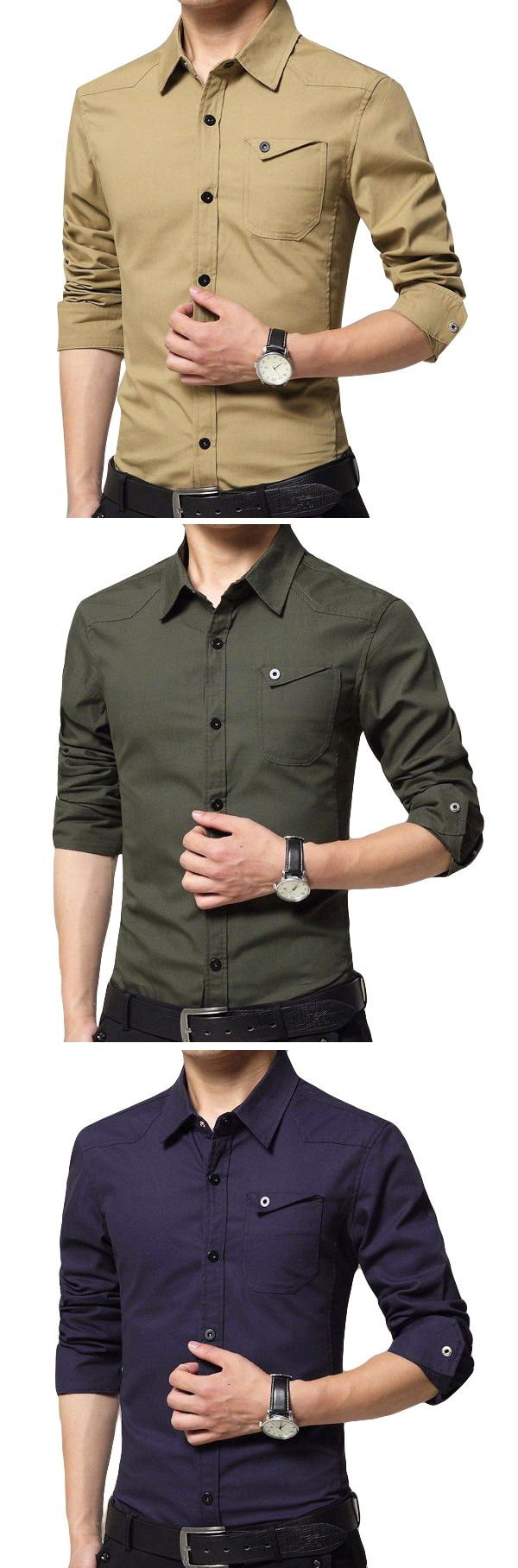 Mens Large Size Casual Long Sleeved Shirts : Cotton Pure Color Cargo  Slim Fit Shirts