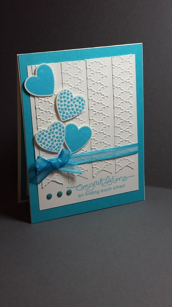 Stampin Up! - Engagement Card Tempting Turquoise and Whsiper White, Hearts a…