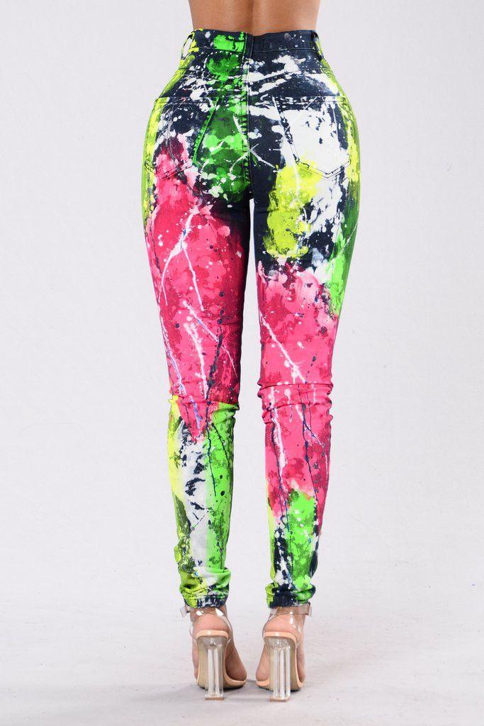 Underestimate Me Paint Splatter Jeans