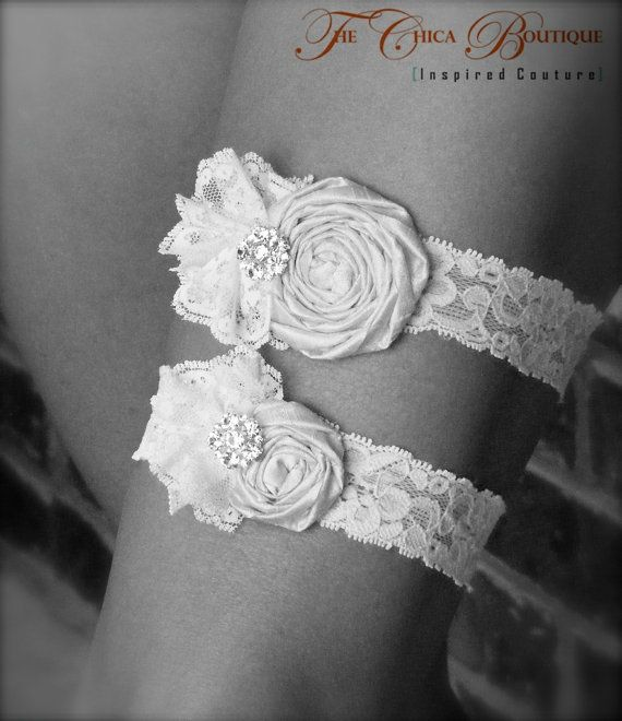 Wedding Garter Set Ruffles and Lace The Chica by TheChicaBoutique, $49.00