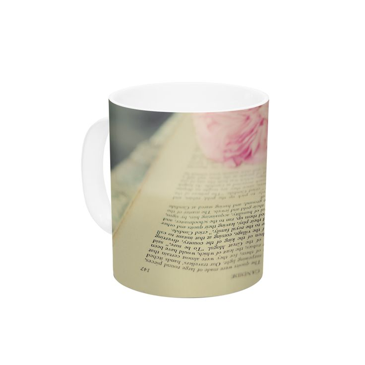 "Cristina Mitchell ""A Good Read"" Pink Tan Ceramic Coffee Mug"