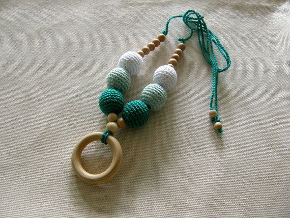 Emerald mint and white nursing ring necklace -  Teething necklace - Breastfeeding Necklace - For Babywearing Moms - Teething toy - Teether on Etsy, $17.00