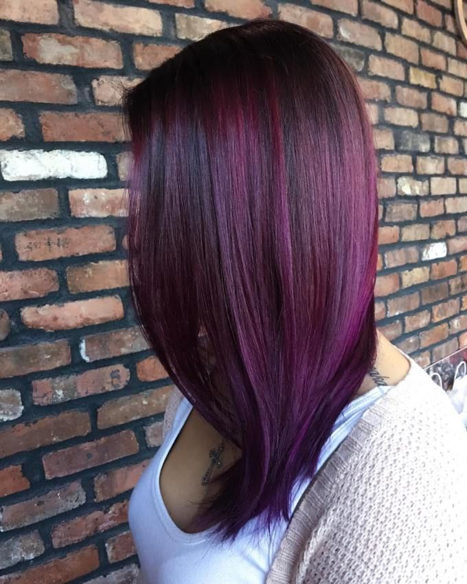 Sleek Plum Hair With Purple Highlights