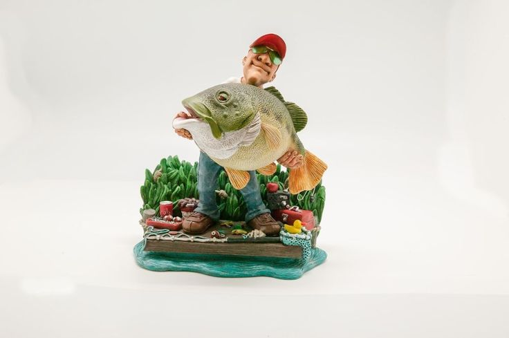 Bass Fishing Gift for the Bass and Trout Fisherman Gift. #fishing #collectible #collectable #christmas #holiday #funny #figurine #statue #fathers day #birthday #warrenstratford