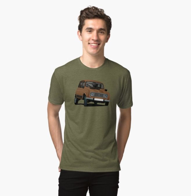 Brown Renault 4 t-shirts on Redbubble.  #classiccars #classic #retro #illustration #car #automobile #france #french #80s #renault #renault4l #renaultr4 #renault4 #vintage
