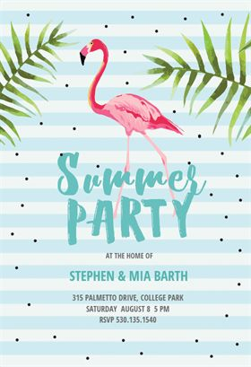 chill with flamingo printable summer party invitation template