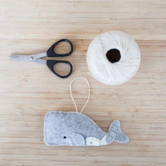 Handmade Felt Whale Ornament, Decorative Felt Animal Ornament, Felt Whale, Nursery Decoration, Home Decor, Baby gifts, Sea Creatures