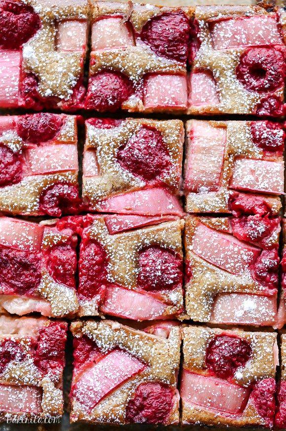 These Raspberry Rhubarb Almond Bars have an crisp almond flour crust topped…