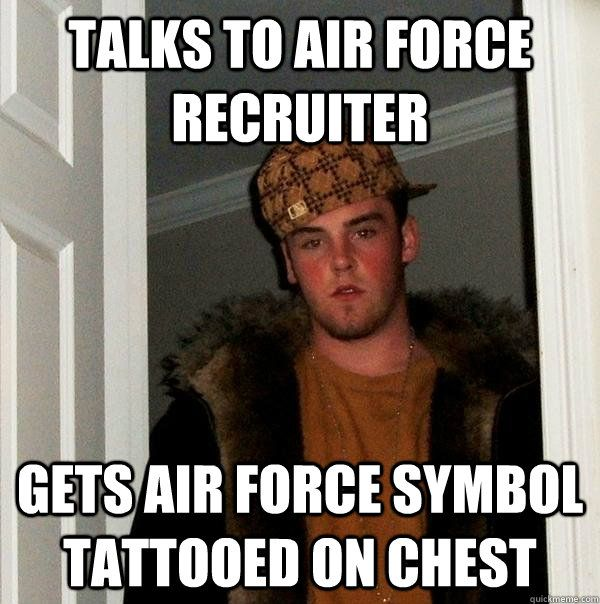 Talks to Air Force recruiter Gets Air Force symbol tattooed on ...